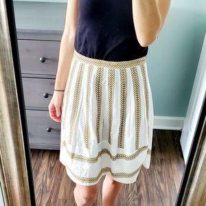 NWOT BCBGMaxAzria Ehite Embroidered Skirt